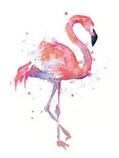 Flamingo Print featuring the painting Flamingo Watercolor Facing Right by Olga Shvartsur