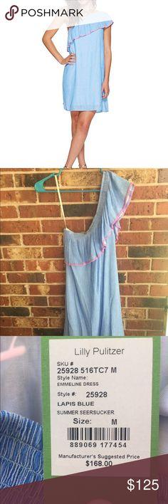 3d6b9f6a9136dd Lilly Pulitzer Emmeline Dress Summer Seersucker Lilly Pulitzer Emmeline  Dress. NWT. Lapis Blue Summer