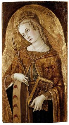 St. Catherine of Alexandria was a virgin martyr who died in the early 4th century. As a young adult, she visited the roman emperor Maxentius to convince him of the error in persecuting Christians. He in return ordered the best pagan philosophers to dispute with her, but Catherine won the debate and her adversaries, conquered by her eloquence, declared themselves Christians. Catherine was condemned to death on the breaking wheel but, at her touch, the torture device was miraculously…