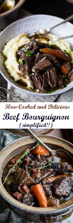 Classic French Beef Bourguignon is a slow cooked beef stew, which produces tender, melt in your mouth morsels, a recipe everyone needs to learn how to cook.