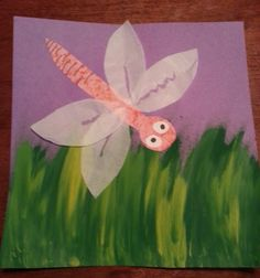 Painted grass with paper dragonfly using tissue paper wings... saw the idea http://www.thatartistwoman.org/2012/09/dragonflies-part-2-portraits.html