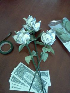 Origami flowers roses money flower gift good luck souvenire money bouquet i made for a sweet 16 mightylinksfo