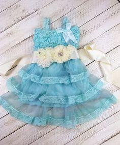 Teal Vintage Flower Girl Dress - Birthday Dress - Matching Flower Sash - Matching Headband - Easter Dress