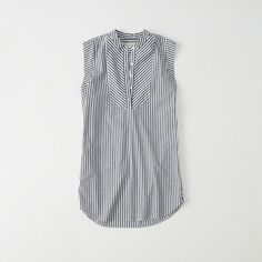 Abercrombie & Fitch Sleeveless Shirtdress ($29) ❤ liked on Polyvore featuring dresses, navy stripe, navy blue striped dress, striped t-shirt dresses, navy dress, stripe dresses and petite shirt dress