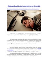 Régimen Legal de Las Horas Extras en Colombia