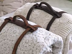 crochet blankets and love the blanket handles Leather Handle, Leather And Lace, Leather Bag, Fresh Farmhouse, Linens And Lace, Leather Accessories, Leather Working, Warm And Cozy, Leather Craft