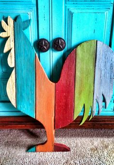 Rooster made from reclaimed tongue and groove flooring. #recycle #repurpose #reuse