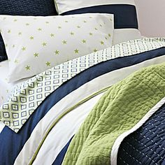 Ronan Bedding for Boys Rooms | Serena & Lily.  I like the Navy/Clover Cabin Quilt.