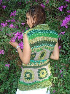 Chaleco Crochet Mix de Lanas y Colores