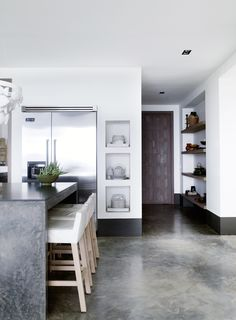 built in shelves .Piet Boon Styling by Karin Meyn | Kitchen design, with white and grey finishings