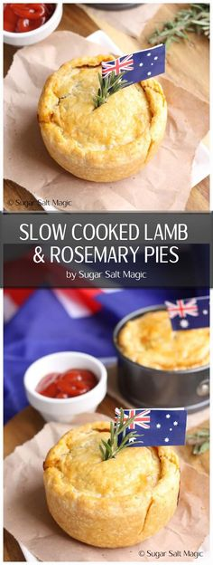 Slow Cooked Lamb & Rosemary Pies. Delicious slow cooked lamb encased in a buttery, flaky pastry. #australiadayfood #slowcookedlamb via @sugarsaltmagic