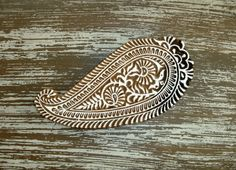 Hand Carved Wood Stamp: Large Indian Paisley Stamp, Flower Printing Block, Handmade Wooden Stamp, Textile Pottery Clay Ceramics Stamp, Decor by DelhiDaze, $30.00