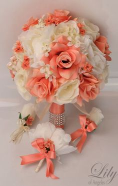 17 Piece Package Silk Flower Wedding Bridal Bouquet Posy Decoration CORAL IVORY