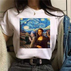 Mona Lisa Aesthetic Harajuku T-Shirt Women Ullzang Vintage Graphic T-shirt Funny Cartoon Tshirt Korean Style Top Tees Female Buy With Off (Limited Offer) Aesthetic T Shirts, Aesthetic Clothes, T Shirt Swag, 90s Tshirt, Harajuku Fashion, Harajuku Style, Vintage Grunge, Tumblr Outfits, Aesthetic Fashion