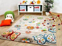Kinder Teppich Savona Kids Beige Schmetterlinge Bunt