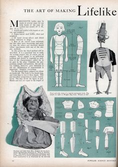 Florence Fetherston Drake – The Art of Making Lifelike Marionette Bodies, Popular Science Monthly, 1936 Marionette Puppet, Puppets, Paper Dolls, Art Dolls, Toy Theatre, Puppet Show, Puppet Making, Wood Scraps, Bodies