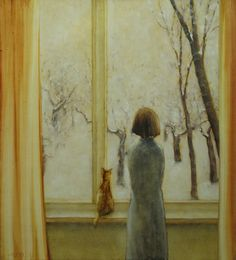 Illustration by Valery Pesin Window View, Window Art, She And Her Cat, Illustrations, Illustration Art, Looking Out The Window, Beautiful Paintings, Cat Art, Art Boards