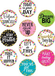 Confetti Positive Sayings Accents is part of Classroom walls - Use this decorative artwork to dress up classroom walls and doors, label bins and desks, or accent bulletin boards 10 designs 30 accents per pack Dimensions pieces are about 6 Inspirational Classroom Posters, Classroom Quotes, Classroom Walls, Classroom Bulletin Boards, Classroom Decor, Inspirational Bulletin Boards, Inspirational Quotes For Students, Bulletin Board Display, Monday Morning Quotes