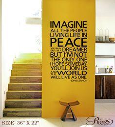 IMAGINE John Lennon Wall Decal Inspirational by FunnyAndSticky