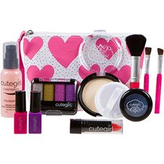 Cutegirl Cosmetics Pretend Play Makeup Kit. Designer Girls Hearts Essential Bag Set >>> See this great product.