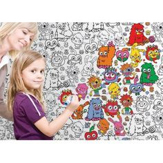 NEW MOSHI MONSTERS 'COLOURING IN' WALLPAPER, this is a really cute idea. Why can't they make stuff like this in the U.S.?