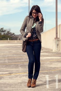 love this look: glasses, cross-body bag, fitted jacket, skinny jeans and wedge boots. there is that necklace again!