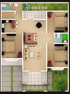 Home Building Design, Home Room Design, Home Design Plans, Home Interior Design, Building A House, 3d House Plans, House Layout Plans, House Layouts, Minimalist House Design