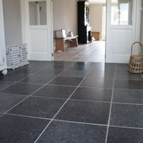 Belgisch Hardsteen. Soft Finish Dark Tone Open Plan Living, Small Living, French Villa, Decoration, Natural Stones, Tile Floor, Sweet Home, It Is Finished, Living Room