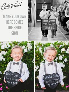 Here Comes The Bride Signs {Rustic Wedding Signs}