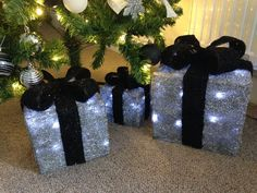 set of 3 silver black light up presents perfect for decorating under the