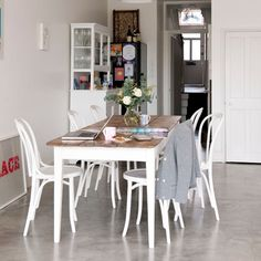 Polished concrete -  the toughest floor covering for your kitchen, that is also effortlessly cool. Perfect if you've got an extremely uneven floor surface, as you simply concrete over. It's also extremely low-maintentance, hard-wearing, and can help reflect light around the room.