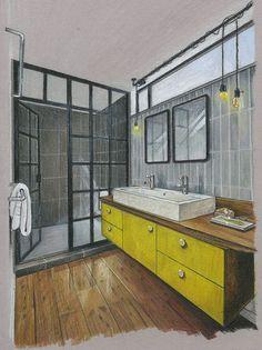 bathroom. hand rendering. windows