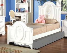 Flora White Wood Twin Size Oval Panel Bed