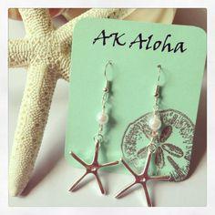 Starfish Dangle Silver Earrings with Pearls Ocean Beach by AKAloha, $20.00