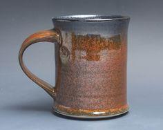 Handmade pottery coffee mug, ceramic mug, stoneware tea cup 16 oz mug glossy tangerine red flake  3922 by BlueParrotPots on Etsy