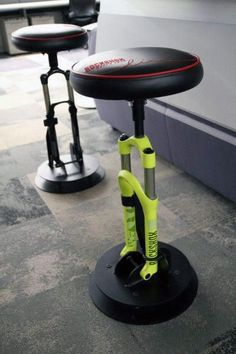 Bmw Bike Shocks Bar Stools Sports Furniture For Man CaveDiscover the top 75 best man cave furniture ideas for men, featuring manly sofas, chairs and more.Rockshox stools how cool are these? by gray_of_north Man Cave Furniture, Cool Furniture, Furniture Design, Furniture Ideas, Plywood Furniture, Suspension Bar, Automotive Furniture, Automotive Decor, Bicycle Art