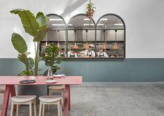 Architecture Restaurant, Restaurant Interior Design, Restaurant Interiors, Modern Restaurant, Kitchen Interior, Restaurant Bar, Mim Design, Cafe Design, Design Art