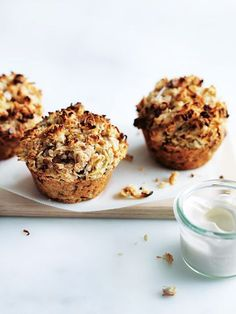 apple, oat and coconut bircher muffins from donna hay