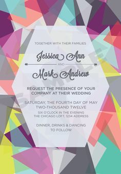 Colorful Graphic Wedding Invitation or Signage, Customizable, via Etsy. We love these funky colors!