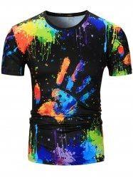 Crew Neck Colorful Splatter Paint Handprint Print T-Shirt - COLORMIX
