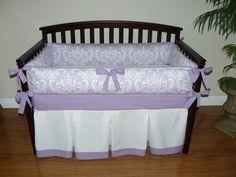 Lilac (Purple) Osborne Damask  Custom Baby Girl Crib Bedding 5 pc. Set (Promotional Price) on Etsy, $310.00