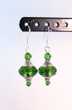 Green Swarovski Crystal & Antique Silver Earrings