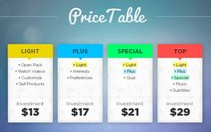 """Price Table Inspiration by Raphael Felicio  - semi-transparent tables (or faint texture)  - use of word """"Investment"""""""