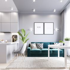 Beautiful Comfy Living Room Design Ideas - Page 44 of 63 - VimTopic Small Apartment Interior, Small Apartment Kitchen, Small Space Interior Design, Home Design Decor, Apartment Design, Interior Design Living Room, Living Room Designs, House Design, Home Decoration