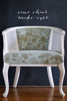 french cane chair make-over... I've been wanting to do a cane chair! Saw two on Craigslist.. darnit!
