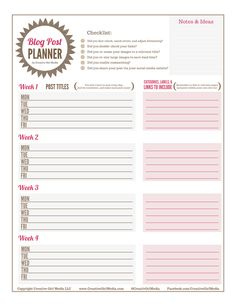 Blog planning sheet. Need to use this! #organization #lists