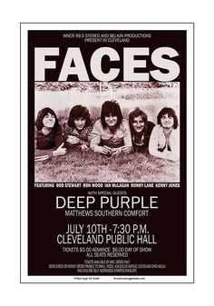 Rock Posters, Band Posters, Music Tv, Music Bands, Ozzy Osbourne Albums, Rod Stewart Concert, Manfred Mann's Earth Band, Faces Band, Ron Woods