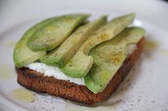 avocado toast (spread toast with dijon mustard instead of ricotta)