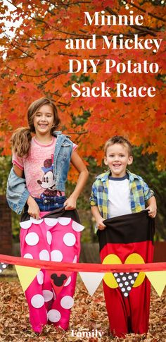 It's easy to craft your own potato sack race inspired by Minnie and Mickey. Keep reading to find out how we made this family-friendly fall activity. Disney Games For Kids, Outdoor Games For Kids, Games For Girls, Summer Camp Games, Summer Camp Crafts, Disney Now, Disney Theme, Family Reunion Games, Family Reunions
