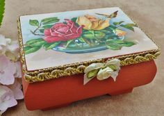 Elegant wood box with rose buquet, gift box, jewellery case, treasure chest, case for girls, romantic, shabby chic - pinned by pin4etsy.com